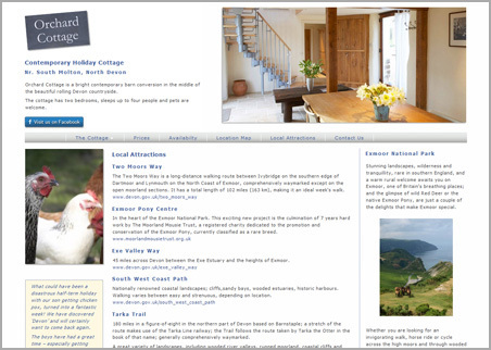 A page from the Devon Cottage web site