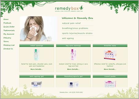 A page from the Remedy Box web site