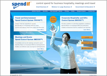 A page from the Spendif web site